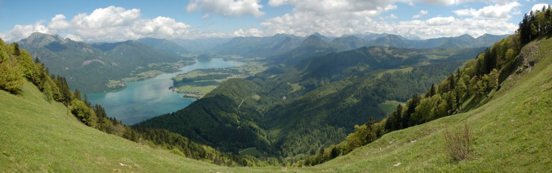 Beautiful view from mountain Zwolferhorn to small part of Wolfgangsee lake at Austria.