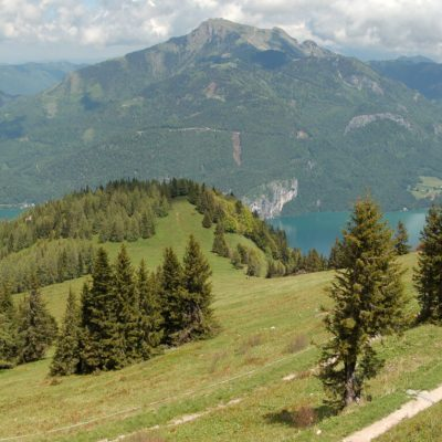 Hiking on alpine mountain Zwolferhorn, Austria.